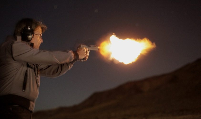 A Muzzle Flash from a Pistol.